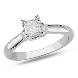 Miadora 14k White Gold 1/3 CT TDW Diamond Solitaire Engagement Ring (G-H, I1-I2)