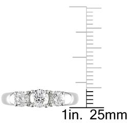 Miadora 14k White Gold 1 CT TDW Diamond 3-stone Ring (G-H, I2-I3)