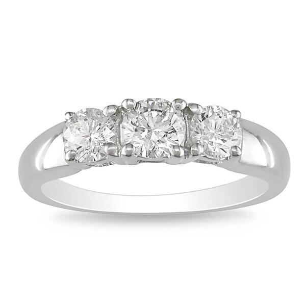Miadora 14k White Gold 1 CT TDW Diamond 3-stone Ring (G-H, I2-I3)