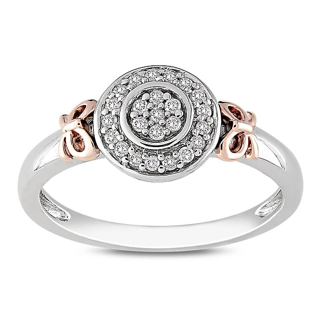 Haylee Jewels Sterling Silver and 14k Pink Gold 1/8ct TDW Diamond Bow Halo Ring