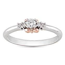 Miadora 14k Gold and Silver 1/6 CT TDW Rose Accent Diamond Ring