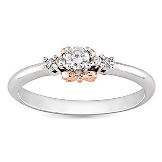 Haylee Jewels 14k Gold/Silver Rose Accent Diamond Ring
