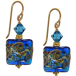 Misha Curtis 14K gold filled earrings,Ocean Blue Hand Blown Glass Earrings