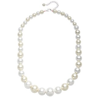 Pearlz Ocean White and Lemon Shell Pearl Journey Necklace (6-16 mm)
