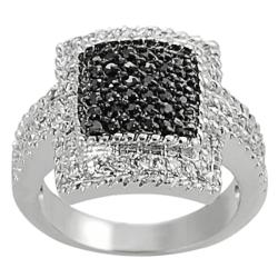 Journee Collection Silvertone Pave-set Black and White CZ Square Ring