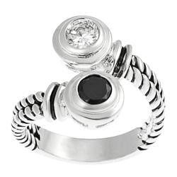 Journee Collection Silvertone Black and White CZ Bypass Ring