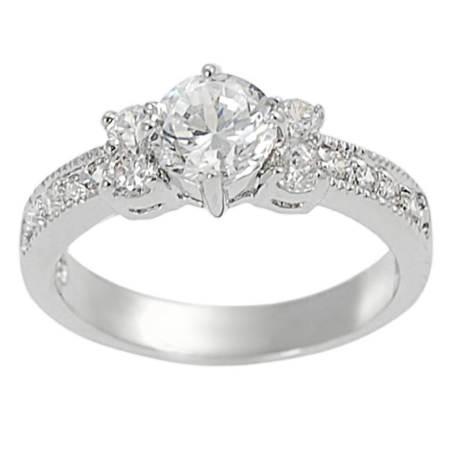 Journee Collection Silvertone Brass Round-Cut Cubic Zirconia Ring
