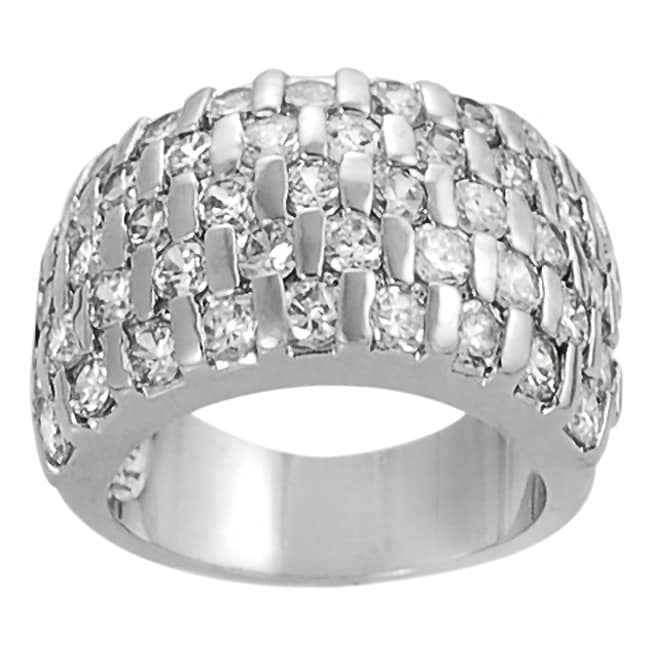 Journee Collection Silvertone Bar-set Cubic Zirconia Dome Ring