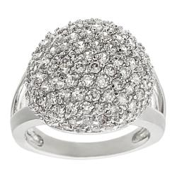 Journee Collection Silvertone Pave-set CZ Dome Ring