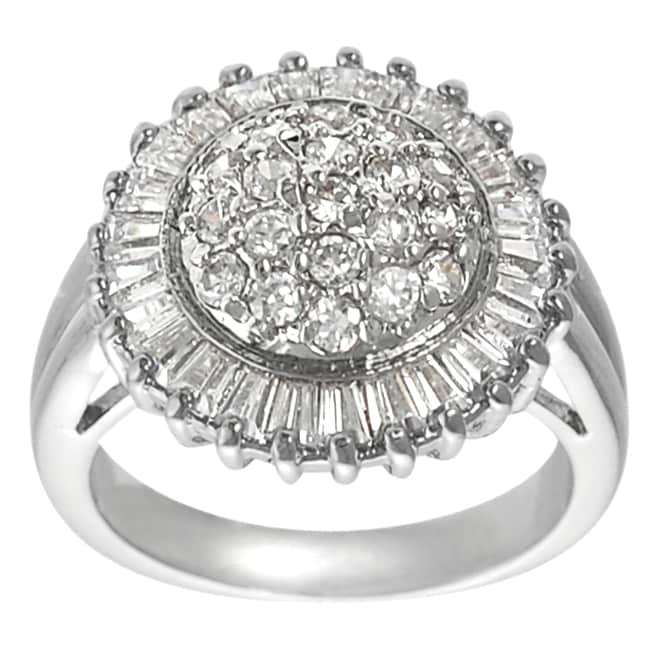 Journee Collection Silvertone Baguette- and Round-cut CZ Ring