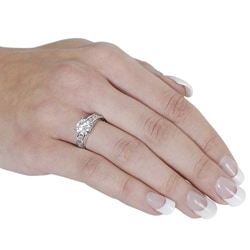 Silvertone Round and Emerald-Cut White Cubic Zirconia Ring