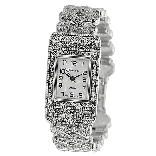 Geneva Platinum Women's Rhinestone-Accented Ornate Link Watch