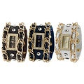Geneva Platinum Women's Czech-Rhinestone-Accented Studded-Chain Snap Watch