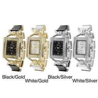 Geneva Platinum Women's Rhinestone-accented Faux Leather Link Watch