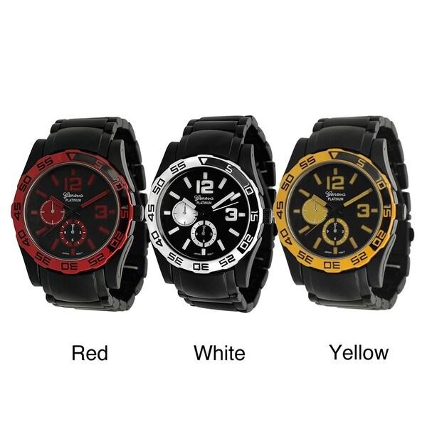 Geneva Platinum Men's Chronograph-Style Black Link Watch