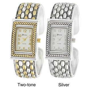 Geneva Platinum Women's Woven Design Hinged Cuff Watch