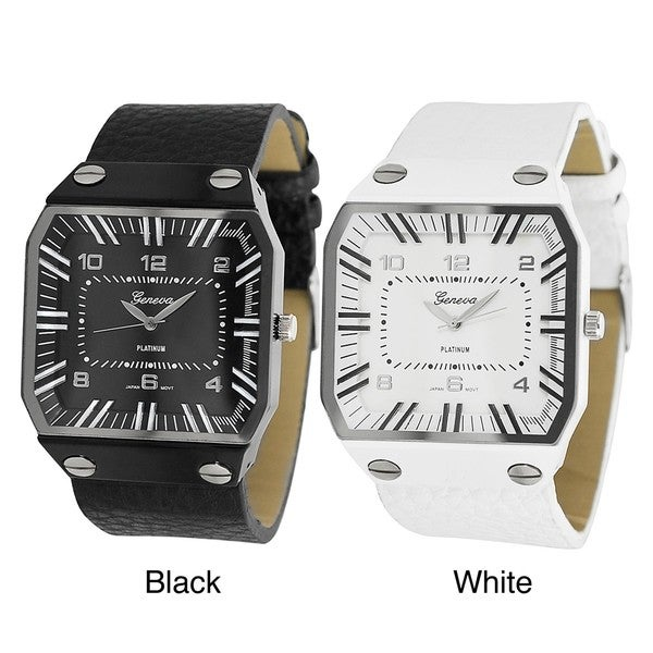Geneva Platinum Men's Square Face Faux Leather Strap Watch