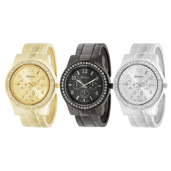 Geneva Platinum Women's Rhinestone Decorative Chronograph Cuff Watch
