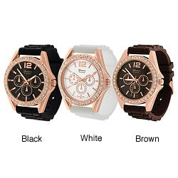 Geneva Platinum Women's Rhinestone Decorative Chronograph Watch