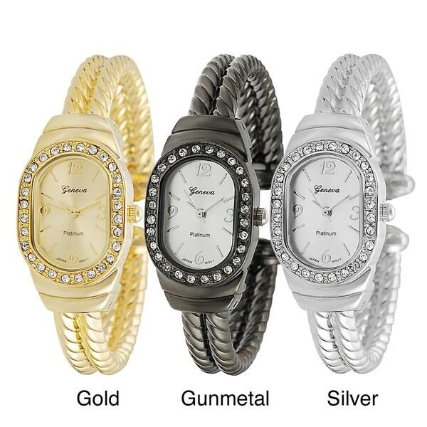 Geneva Platinum Women's Rhinestone-accented Twist Cuff Watch