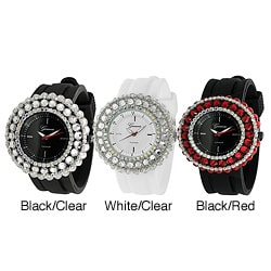 Geneva Platinum Women's Rhinestone-Accented Silicone Watch in Choice of Colors