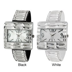 Geneva Platinum Women's Rhinestone-accented Faux Leather Snap Watch