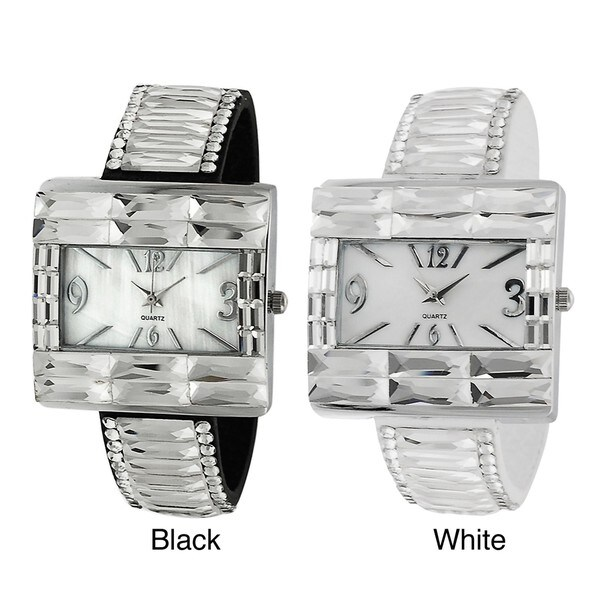 Geneva Platinum Women's Rhinestone-accented Faux Leather Snap Watch