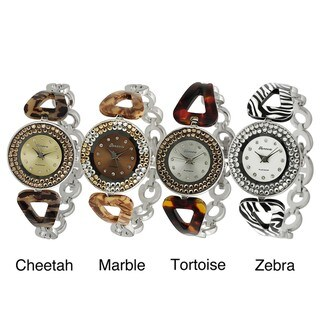 Geneva Platinum Women's Rhinestone-accented Pattern Link Watch