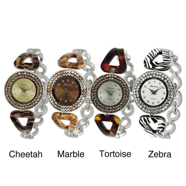 Geneva Platinum Women's Rhinestone-accented Pattern Link Watch