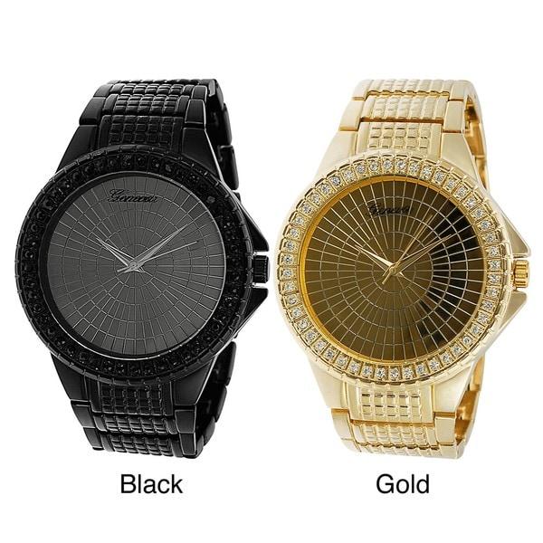 Geneva Platinum Men's Rhinestone-accented Large Face Link Watch