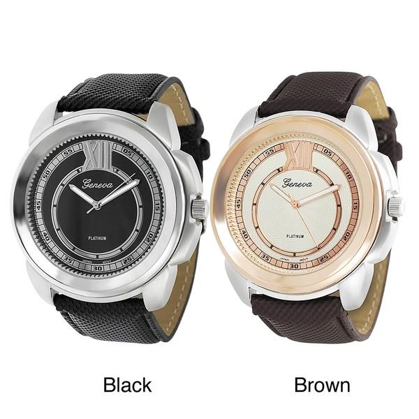 Geneva Platinum Men's Brushed Finish Large Face Strap Watch