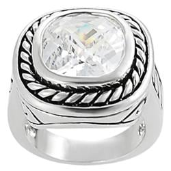 Silvertone Cushion-cut Cubic Zirconia Ring