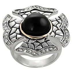 Two-tone Created Onyx and Cubic Zirconia Patee Cross Ring
