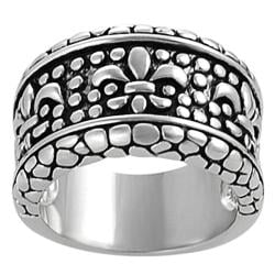Silvertone Fleur de Lis and Pebble Design Ring