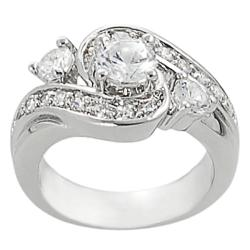 Tressa Collection Silvertone Round White CZ Bridal & Engagement Ring