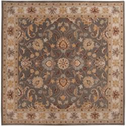 Hand-tufted Hida Gray Traditional Border Wool Rug (6' Square)