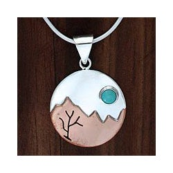 Copper Accent Silver 'Taxco at Dusk' Turquoise Necklace (Mexico)