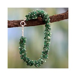 Sterling Silver Aventurine 'Evergreen' Beaded Bracelet (India)