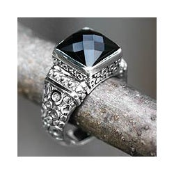 Men's Sterling Silver 'Midnight Shadow' Onyx Ring (Indonesia)