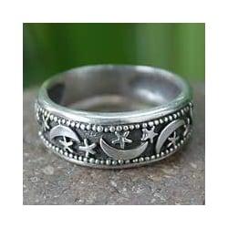 Sterling Silver 'Moon Magic' Band Ring (Thailand)