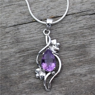 Handcrafted Sterling Silver Bengal Blossom Purple Amethyst Snake Style Necklace (India)