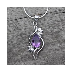 Sterling Silver 'Bengal Blossom' Amethyst Necklace (India)