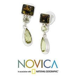 Sterling Silver 'Green Valley' Multi-gemstone Earrings (Indonesia)