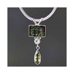 Sterling Silver 'Green Valley' Multi-gemstone Necklace (Indonesia)