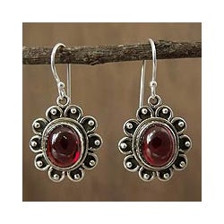 Sterling Silver 'Profound Scarlet' Garnet Dangle Earrings (India)