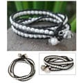 Silver 'Moonlit Rose' Pearl and Leather Bracelet (6-6.5 mm) (Thailand)