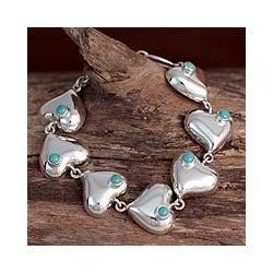 Silver 'Love in Cancun' Turquoise Bracelet (Mexico)