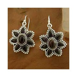 Sterling Silver 'Purple Blossom' Amethyst Flower Earrings (India)