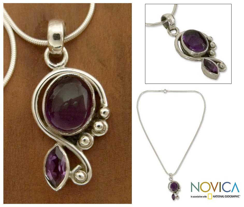 Sterling Silver 'Delhi Delight' Amethyst Necklace (India)