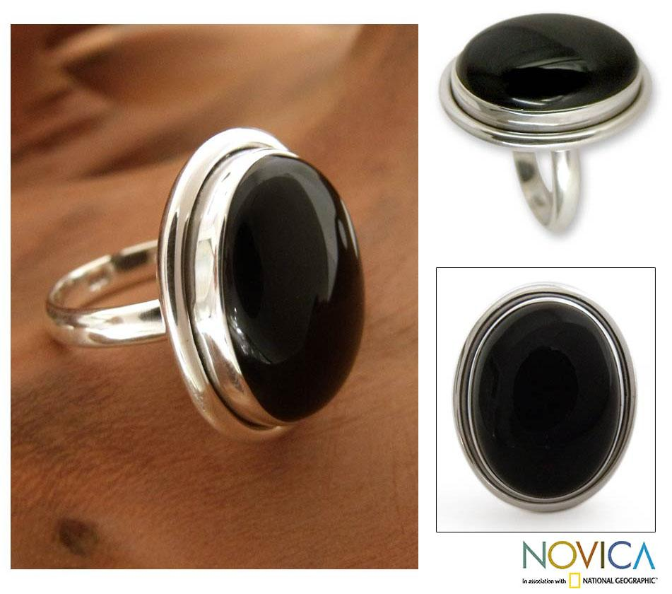 Sterling Silver 'Universe' Onyx Cocktail Ring (India)